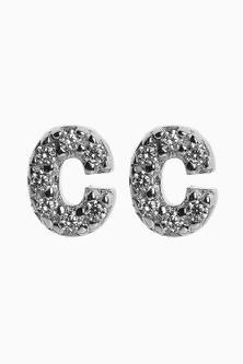 Next Cubic Zirconia Stone Initial Stud Earrings