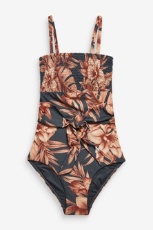 Next Shirred Tie Front Bandeau Swimsuit