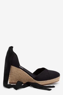Next Ankle Tie Espadrille Wedges-Wide Fit