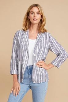 Capture Linen Blend Stripe Blazer