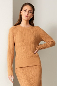 Grace Hill Cable Knit Crew Neck Sweater