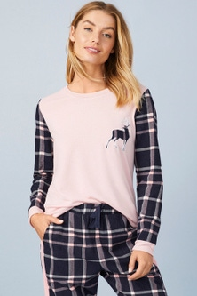 Mia Lucce Flannel Long Sleeve Pj Top