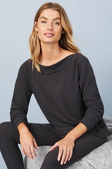 Mia Lucce Boat neck Ribbed Top
