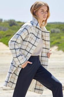 Capture Wool Blend Brushed Check Coat