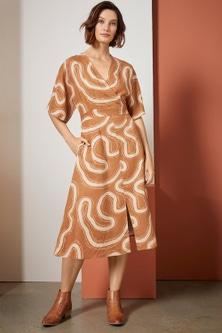 Grace Hill Linen Blend Kimono Sleeve Dress