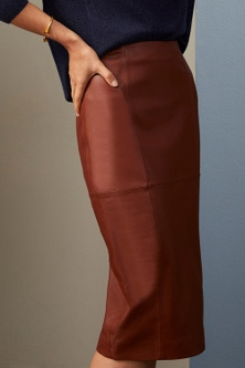 Grace Hill Leather Pencil Skirt