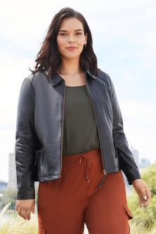 Sara Collared Leather Jacket