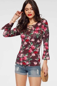 Urban Volant Sleeve Floral Print Top