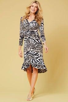 Kaleidoscope Animal print flounce dress