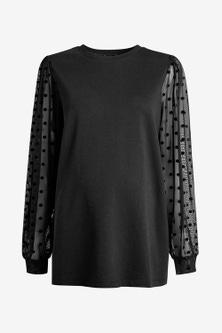 Next Maternity Sheer Sleeve Spot Sweater