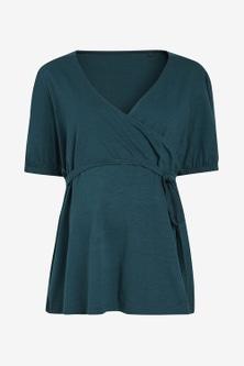 Next Maternity Puff Sleeve Jersey Wrap Top
