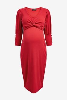 Next Maternity Knot Front Ribbed Midi Dress