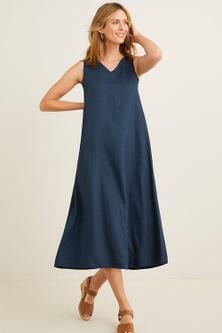 Capture Linen Blend V Neck Midi Dress