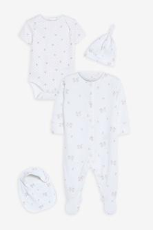 Next Organic Bunny Sleepsuit, Short Sleeve Bodysuit, Bib and Hat