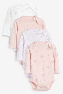 Next 4 Pack Organic Bunny Long Sleeve Bodysuits (0mths-3yrs)