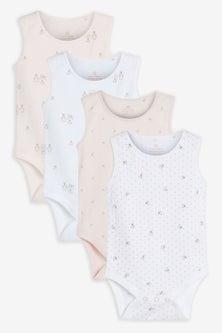 Next 4 Pack Organic Bunny Vest Bodysuits (0mths-3yrs)