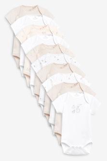 Next 10 Pack Organic Bunny Short Sleeve Bodysuits (0mths-3yrs)