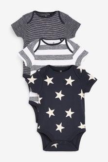 Next 3 Pack Star Short Sleeve Bodysuits (0mths-3yrs)
