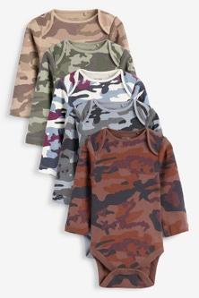 Next 5 Pack Camo Long Sleeve Bodysuits (0mths-3yrs)