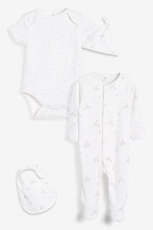 Next Organic Giraffe Sleepsuit, Short Sleeve Bodysuit, Bib And Hat