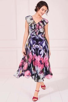 Kaleidoscope Iris Poppy Print Dress