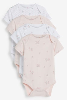 Next 4 Pack Organic Delicate Bunny Short Sleeved Bodysuits (0mths-