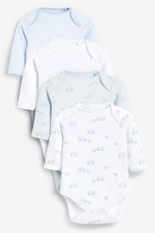 Next 4 Pack Organic Elephant Long Sleeve Bodysuits (0mths-3yrs)