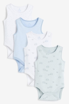 Next 4 Pack Organic Elephant Vest Bodysuits (0mths-3yrs)
