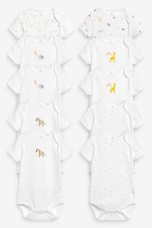 Next 10 Pack Organic Character Short Sleeve Bodysuits (0mths-3yrs)