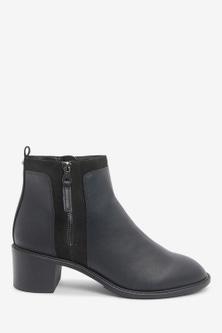 Next Forever Comfort Chunky Heeled Zip Boots-Regular