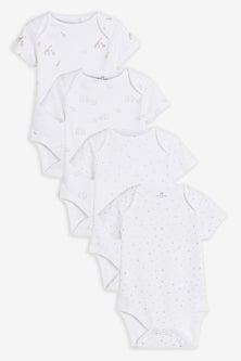 Next 4 Pack Organic Delicate Multi Print Short Sleeved Bodysuits