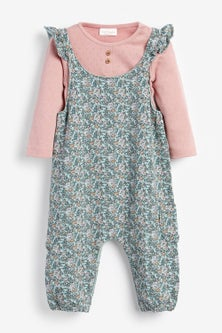 Next Ditsy Dungarees And Bodysuit (0mths-3yrs)