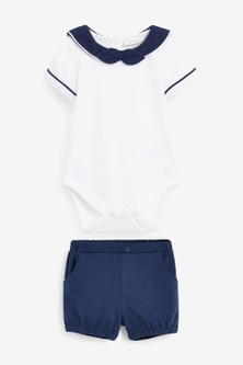 Next Smart Jersey Bodysuit And Shorts Set (0mths-2yrs)