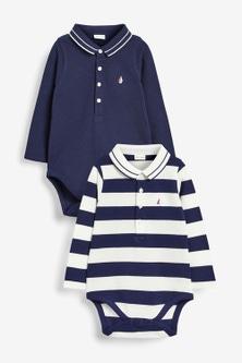 Next Two Pack Stripe Pique Polo Bodysuits (0mths-2yrs)