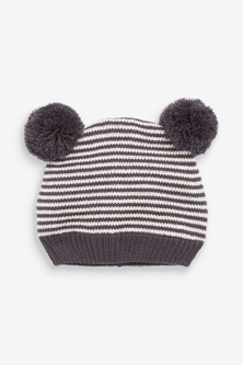 Next Knitted Stripe Hat With Double Pom (0mths-2yrs)