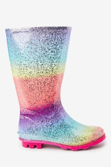 Next Rainbow Glitter Wellies (Older)