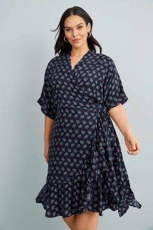 Sara Ruffle Hem Wrap Dress