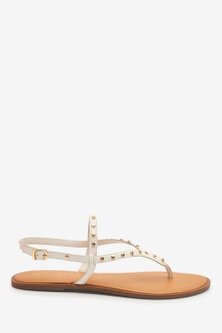 Next Forever Comfort® Studded Toe Thong Sandals- Wide Fit-Wide