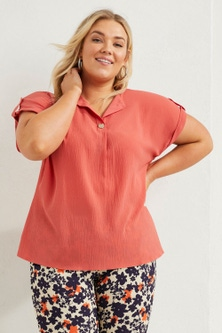 Sara Short Sleeve Button Tab Top