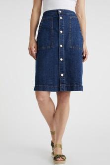 Capture Button Front Denim Skirt