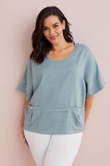 Sara Linen Blend Pocket Top