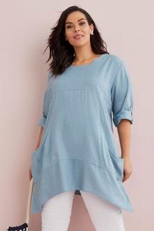 Sara Linen Blend Drape Pocket Tunic
