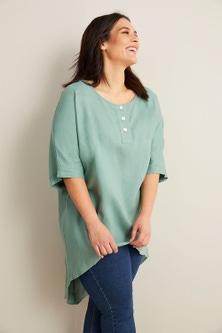 Sara Linen Button Placket Tunic