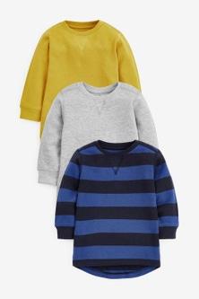 Next 3 Pack Stripe Textured T-Shirts (3mths-7yrs)