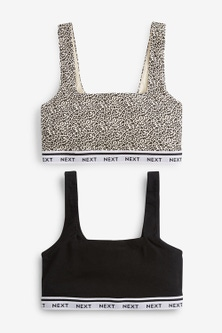Next Daisy Square Neck Logo Crop Tops Two Pack