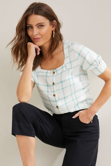 Capture Linen Blend Square Neck Shirt