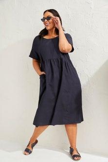 Sara Linen Blend Short Sleeve Dress