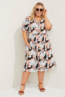Sara Linen Blend Button Through Dress