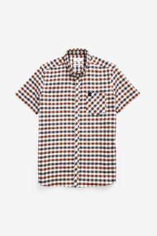Next Check Stretch Oxford Short Sleeve Shirt