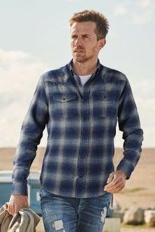 Next Brushed Flannel Check Long Sleeve Shirt-Regular Fit